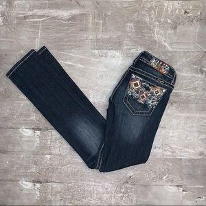 Aztec Embellish Back Pockets Straight Miss Me Jean